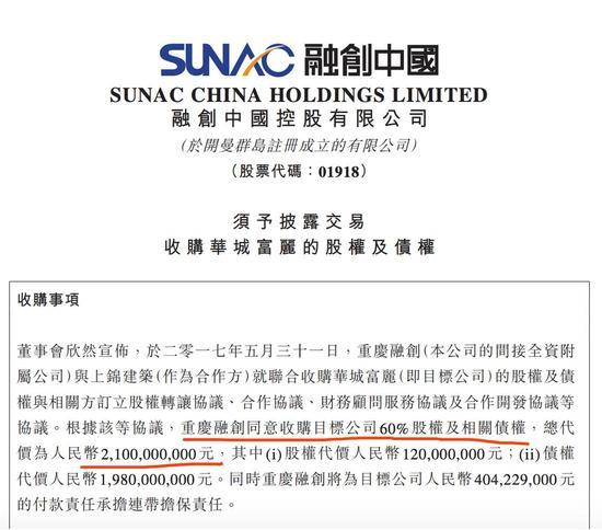 图片来源:融创中国公告