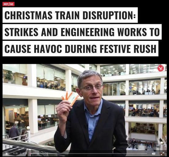 ▲圣诞期间列车班次停运:罢运与施工造成了节日高峰的巨大破坏(via The Guardian)