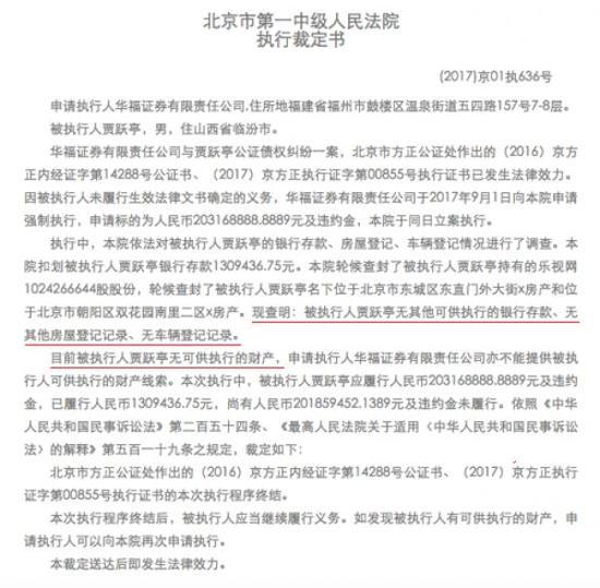 北京市一中院执行裁定书