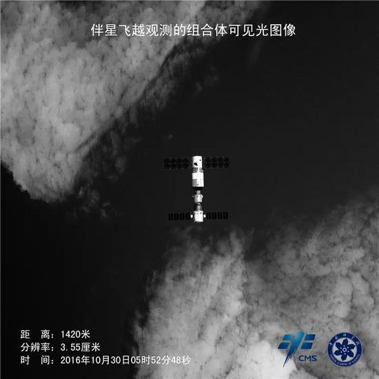 这是2016年10月30日天宫二号伴随卫星的可见光相机拍摄的天宫二号与神舟十一号组合体照片。相机采用2500万像素探测器,在400km轨道高度,可获得50km×50km幅宽高清图像,采用JPEG2000方法星上实时81压缩后的图中依然可分辨海浪波纹。