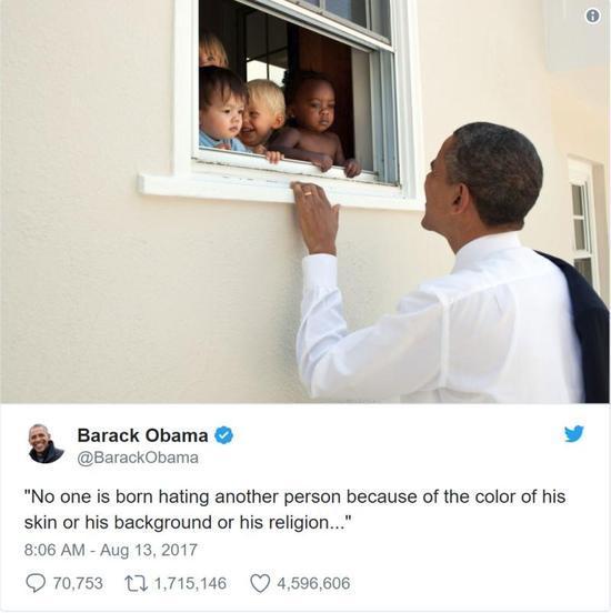 种族冲突后,奥巴马在推特中引用曼德拉名言,该条推特位列点赞数量第一,转发数量第二。(图片来源:CNBC)