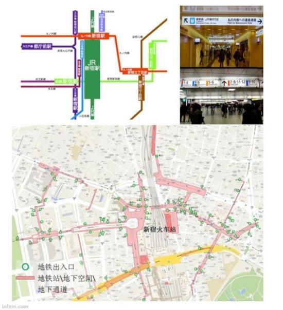 东京新宿――多站换乘的枢纽密集(《城市轨道沿线地区规划设计导则》截图/图)
