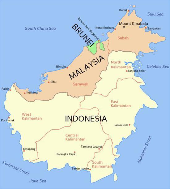 ▲图中绿色部分为文莱 (图片来源:维基百科共享页面)
