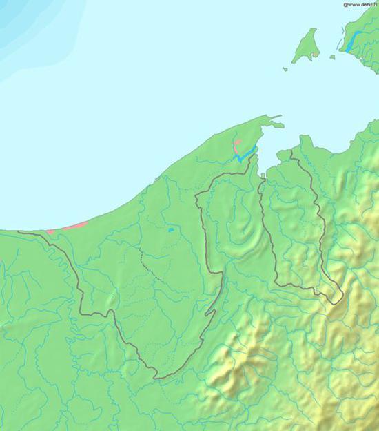 ▲文莱国土大多位于沿海平原地区 图片来源:维基百科