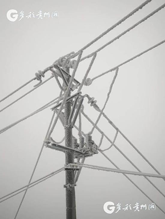 被凝冻住的电力设施。多彩贵州网 图