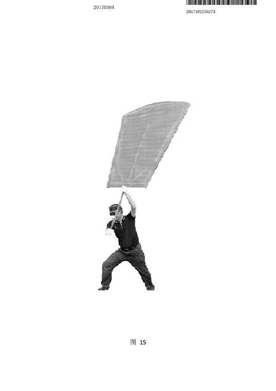 杜清尘的除霾扇图示,他称可通过调整除霾扇手柄长度来达到最佳产风效果。
