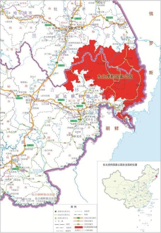 东北虎豹国家公园区位图。