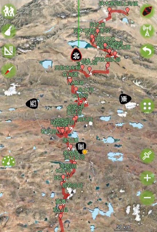 ▲ 刘银川穿越无人区的徒步路线。受访者供图