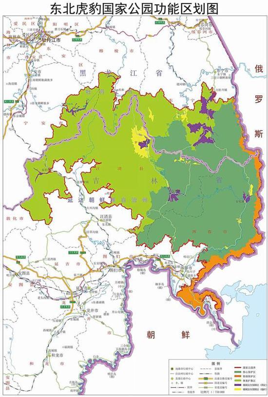 东北虎豹国家公园功能区划图。