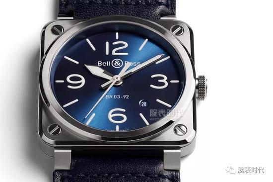 柏莱士BR 03-92蓝色精钢腕表