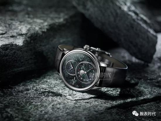 雅克德罗瑞士蛇纹石月相大秒针腕表