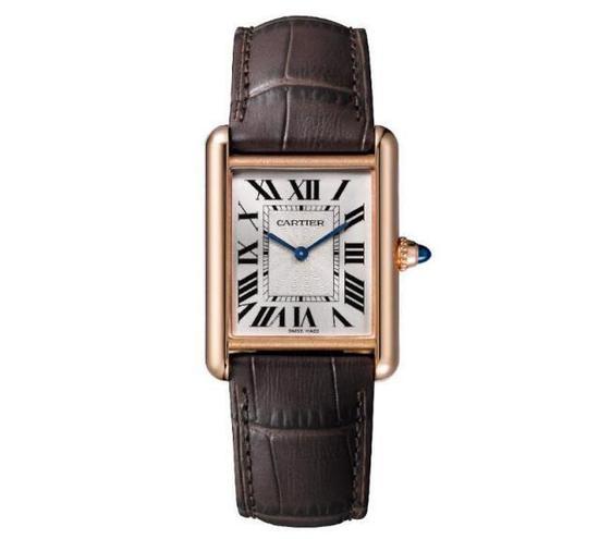 卡地亚 Tank Louis Cartier系列腕表。大号表款,18K玫瑰金,皮表带