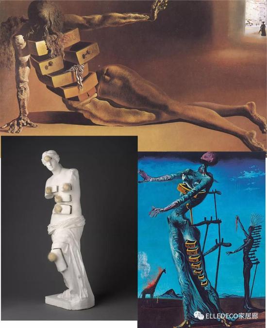 《拟人的橱柜》(上,1936)《带抽屉的维纳斯》(左下,1936)《燃烧着的长劲鹿》(右下,1937)