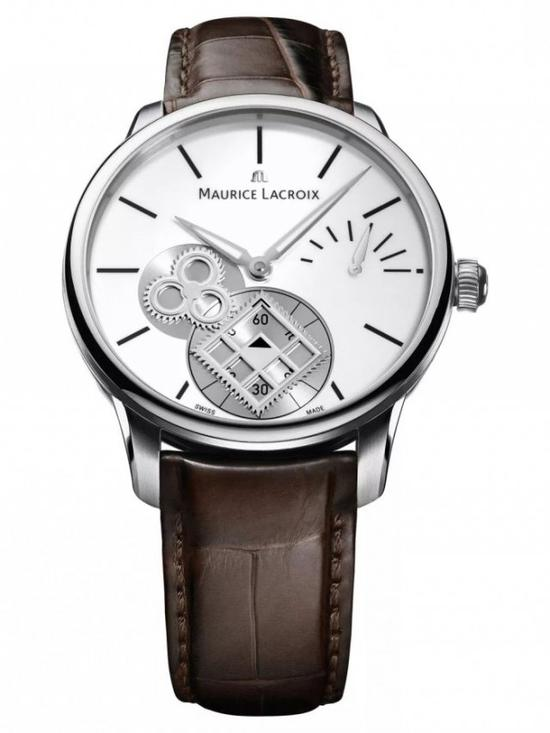 艾美匠心系列方轮腕表,位于 6 时位置的小秒盘是个方轮,由一旁的三叶轮推动。