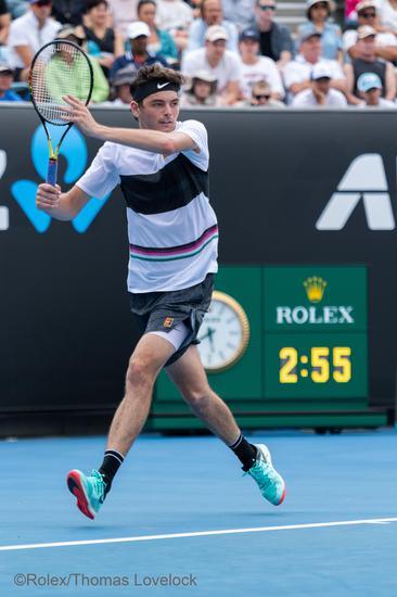 劳力士代言人泰勒?弗里茨(TAYLOR FRITZ )于2019年澳大利亚网球公开赛?Rolex Thomas Lovelock