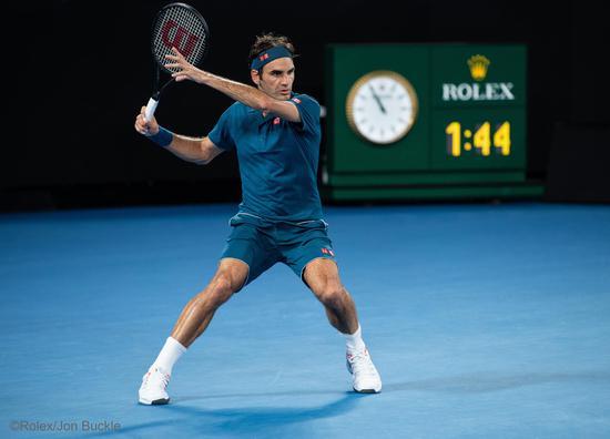 劳力士代言人罗杰?费德勒(ROGER FEDERER)于2019年澳大利亚网球公开赛?Rolex Jon Buckle(3)