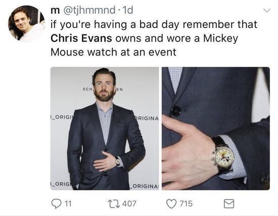 Chris Evans佩戴米老鼠腕表参加活动
