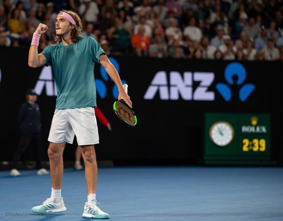 劳力士代言人斯特凡诺斯?西西帕斯(STEFANOS TSITSIPAS)于2019年澳大利亚网球公开赛?Rolex Jon Buckle(2)