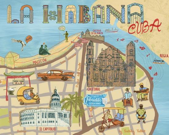 哈瓦那手绘地图