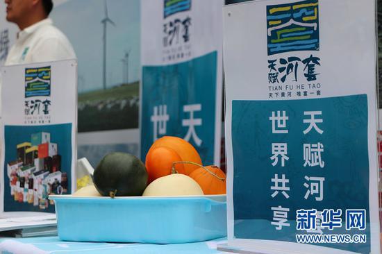 5月18日,推介会现场展示的巴彦淖尔优质农产品。新华社记者 朱文哲 摄