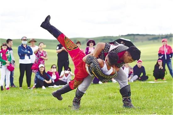 ▲那达慕摔跤手上场比赛。
