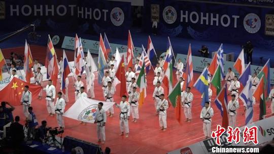 图为2019年世界柔道大奖赛开幕式现场。 马知远 摄