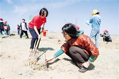 4月22日,志愿者种植沙棘树。当日,是第50个世界地球...