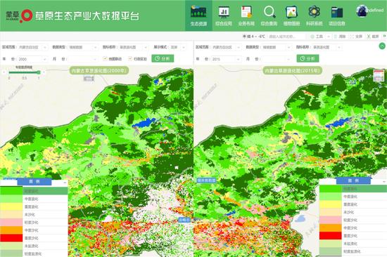 上图:蒙草蒙草生态大数据平台系统页面