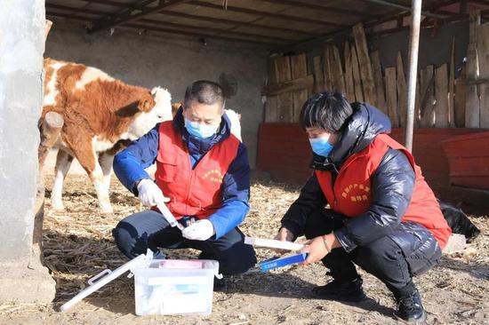 产业指导员滕云启上门帮助贫困户。李娜 摄
