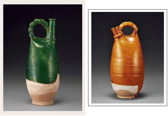绿釉(左)、黄釉皮囊壶(右)