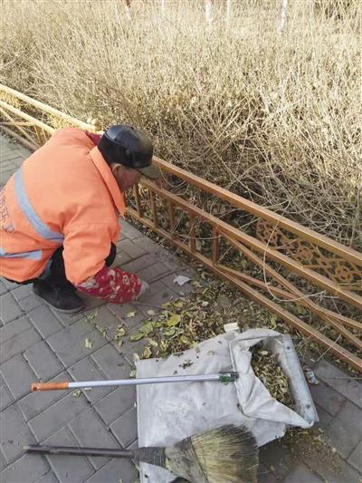 环卫工人清理绿化带里的杂物
