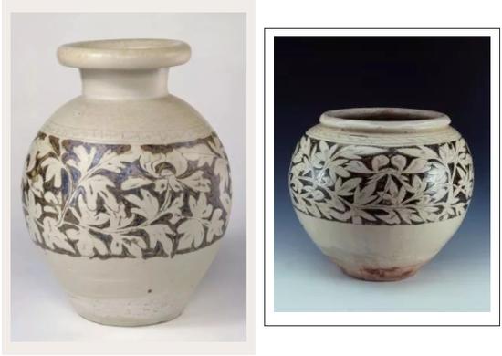 白釉划花填黑彩牡丹纹尊(左)、白地黑彩划花牡丹纹罐(右)