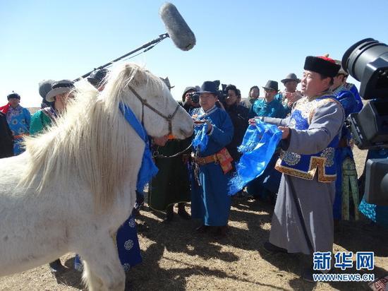 成吉思汗陵举行仪式欢迎30余匹白骒马的到来(成吉思汗陵旅游区管委会供图)