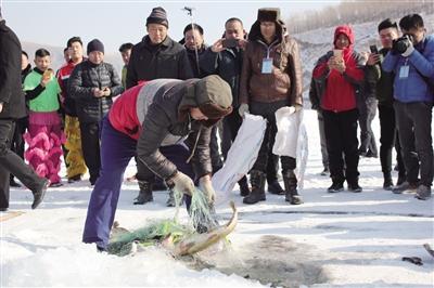 大鱼跃出冰面,游客纷纷观看