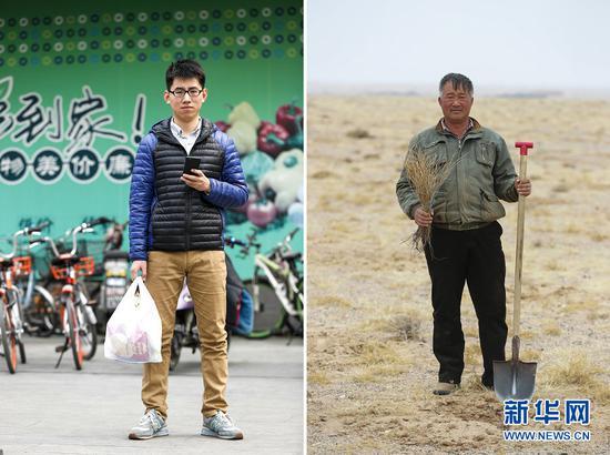 """拼版照片:左图为3月17日,北京大学药学院天然药物学系研究生王金龙在学校的超市,通过支付宝移动支付购买了一袋生活用品,这意味着他在""""蚂蚁森林""""里的""""能量""""又增加一些;右图为3月19日,生活在内蒙古阿拉善盟希勃图嘎查的聂玉胜在自家牧场种植梭梭。 因为""""蚂蚁森林"""",身处都市的王金龙将自己践行的环保生活方式转化成一棵棵实体的梭梭,由远在数千公里之外的聂玉胜种植在自家牧场,成为对抗沙漠的""""卫士""""。"""
