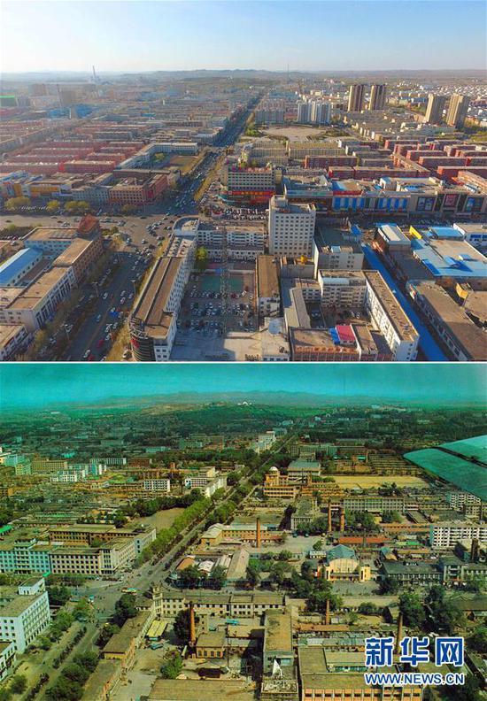 拼版照片:上图为2017年4月28日拍摄的乌兰浩特市兴安大街一景(新华社记者邓华摄);下图为20世纪90年代初拍摄的乌兰浩特市兴安大街一景(乌兰浩特市提供)
