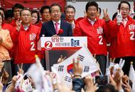 韩国总统候选人出席竞选现场