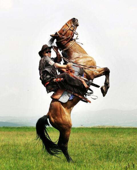 马背上的彭广。