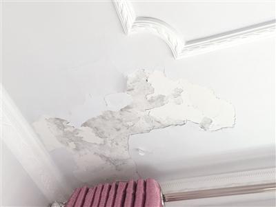 西岸国际小区班女士家屋顶墙皮脱落