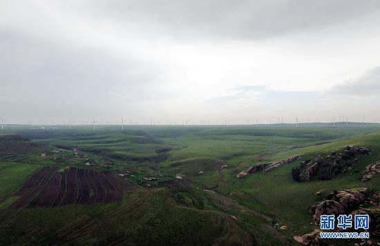 辉腾锡勒草原位于内蒙古中部的乌兰察布草原腹地,由于地形的特殊,这里山峦起伏,沟壑纵横。一排排不停旋转着的风力发电机车成为辉腾锡勒草原上一道独特的风景线。(戴浩浩摄)