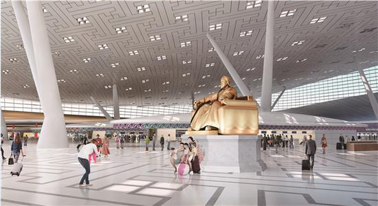 呼和浩特新机场航站楼内部岛效果图