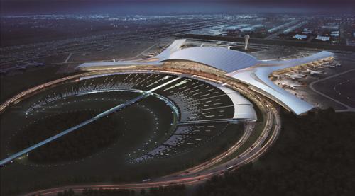 呼和浩特新机场鸟瞰图