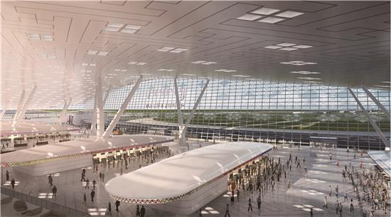 呼和浩特新机场航站楼值机岛效果图