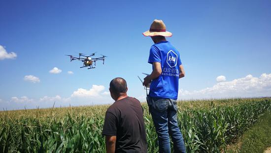 现场:大疆农业无人机MG-1S农药喷洒