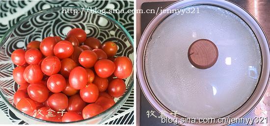 9.切好十字的番茄。 10.接下来烧一锅水。