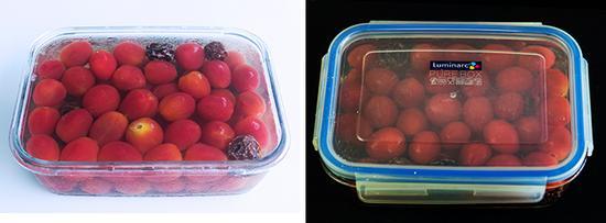18.把番茄放进冰糖话梅水中,水要完全覆盖番茄。(如果水少不能覆盖可以加入少许冷开水) 19.盖上盖子,放入冰箱,冷藏一晚,使其完全入味。