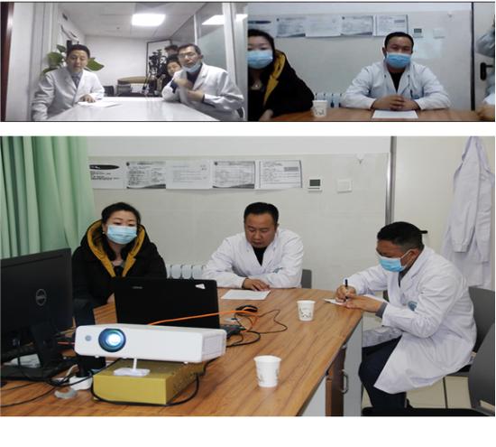 医疗专家在中国心胸血管麻醉学会远程超声会诊室内同我院医生视频连线