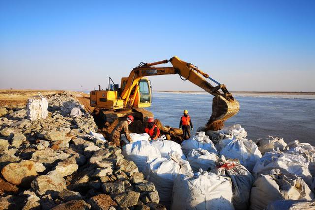 黄河谢拉五河段正进行除险加固工作