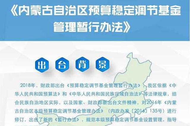 一图读懂内蒙古自治区预算稳定调节基金管理暂行办法