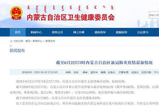 疫情速报|内蒙古自治区无新增确诊病例和疑似病例